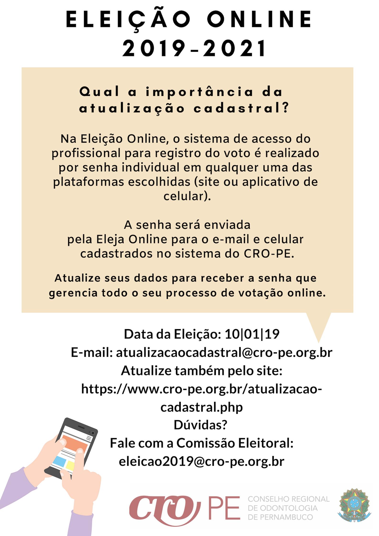 86c2fb34dd Banner informativo - Importância da Atualização Cadastral - Eleição Online  - Biênio 2019-2021
